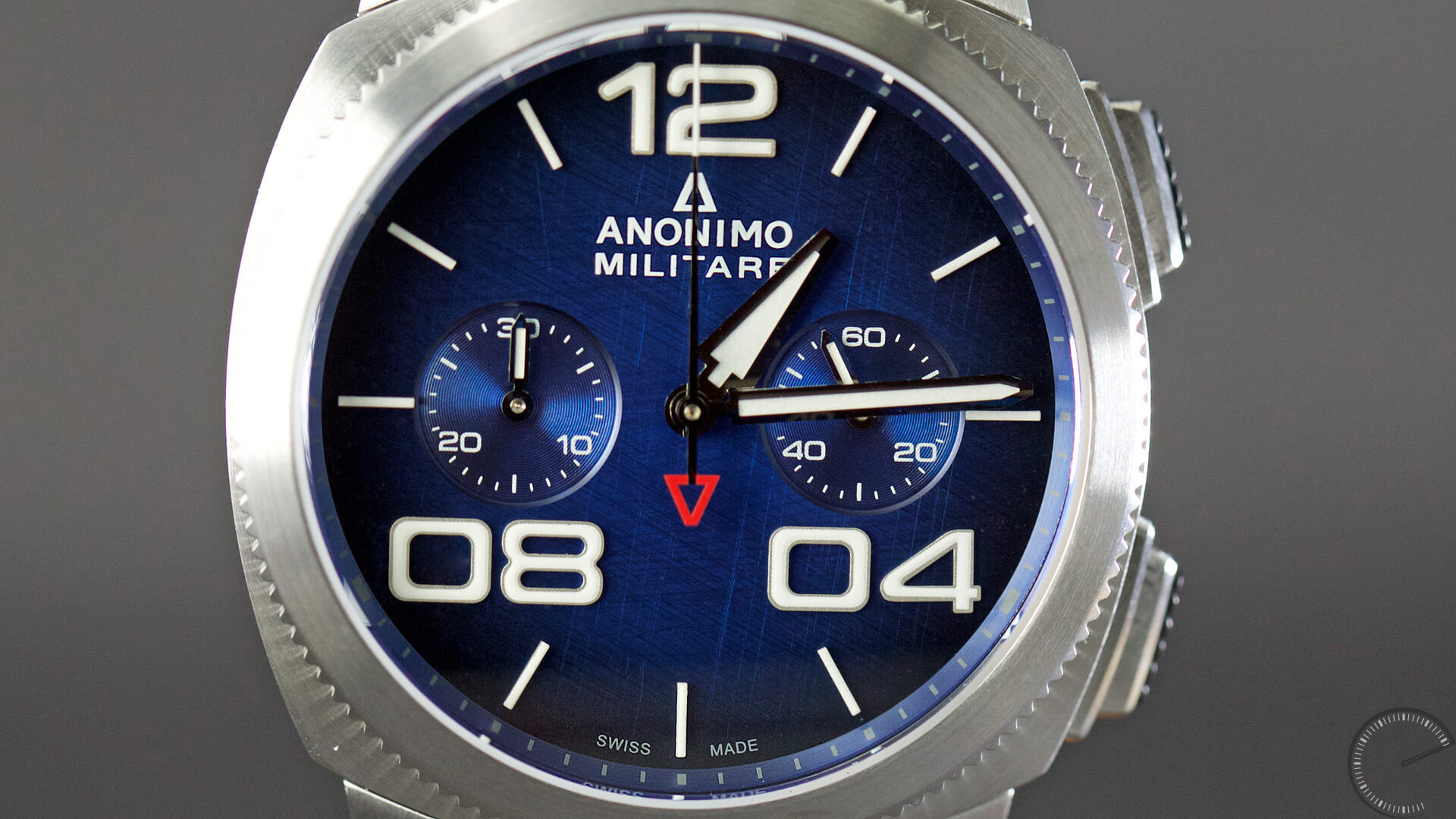 Anonimo_Militaire_Classic_Chrono_blue_dial_dial1 - ESCAPEMENT magazine - watch reviews by Angus Davies
