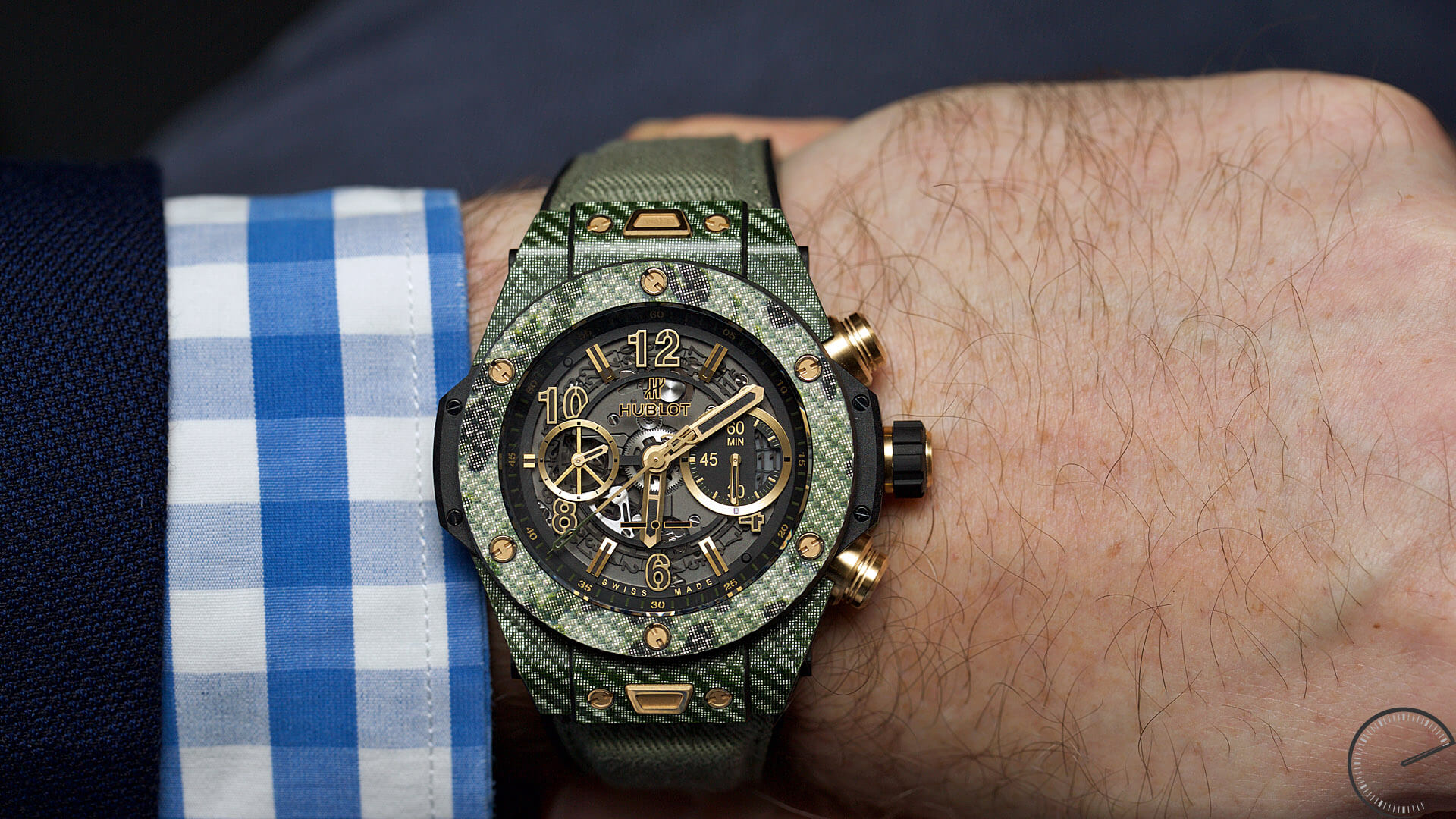 Hublot_Big_Bang_Unico_Italia_Independent_Green_Camo_wrist1 - ESCAPEMENT magazine - watch reviews by Angus Davies