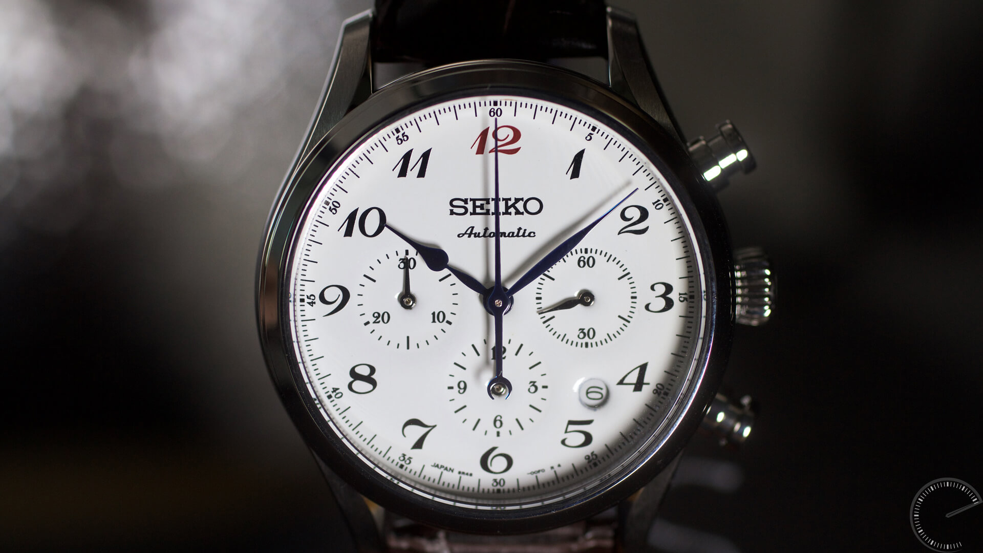 Seiko_Presage_60th_Anniversary_Chronograph_SRQ019_white_enamel_dial - ESCAPEMENT magazine - watch review website by Angus Davies