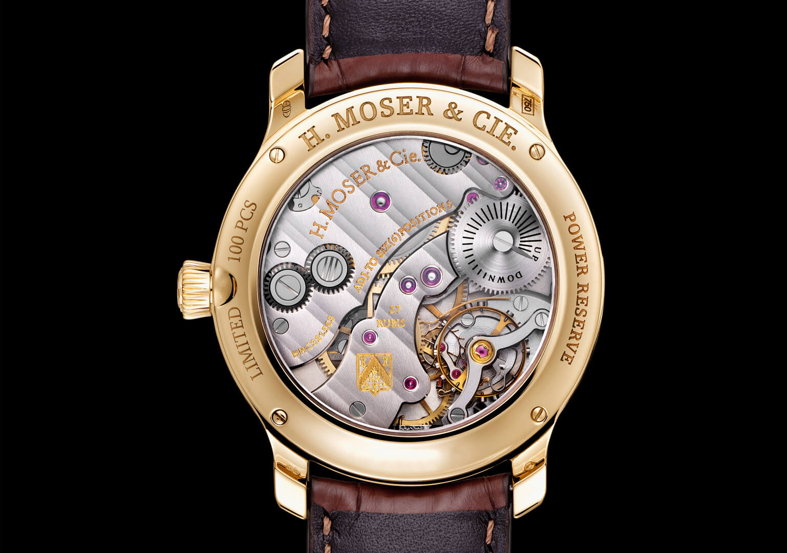 Image of H. Moser designed by Bryan Ferry, featuring small seconds and power-reserve indicator