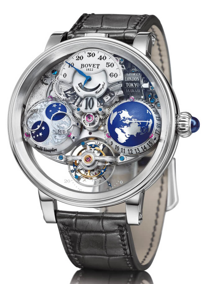 Image of Bovet watch with tourbillon, jumping hours, retrograde minutes, hemispheric universal worldwide time and hemispheric precision moon phase