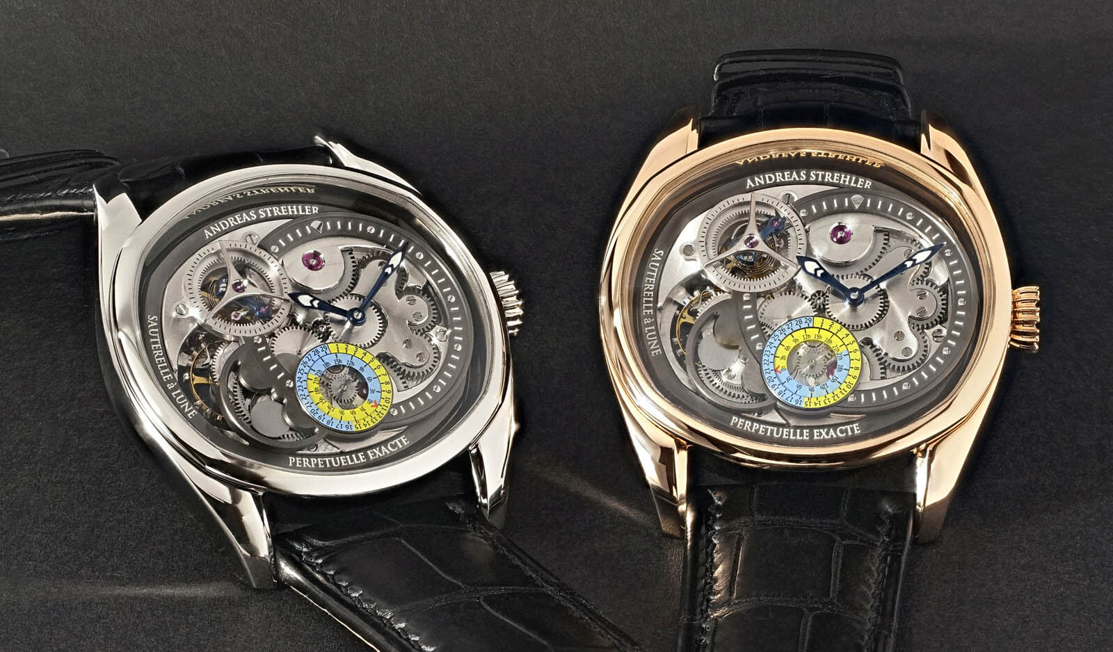 Image of both versions of the Andreas Strehler Lune Exacte