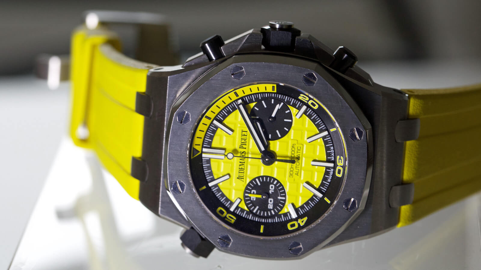 Image of Audemars Piguet Royal Oak Offshore Diver Chronograph with yellow strap - SIHH 2016 novelty