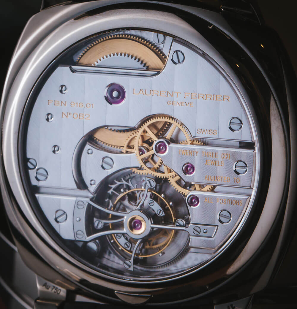 Image of Laurent Ferrier Galet Classic Square for watch review, featuring tourbillon with double balance spring