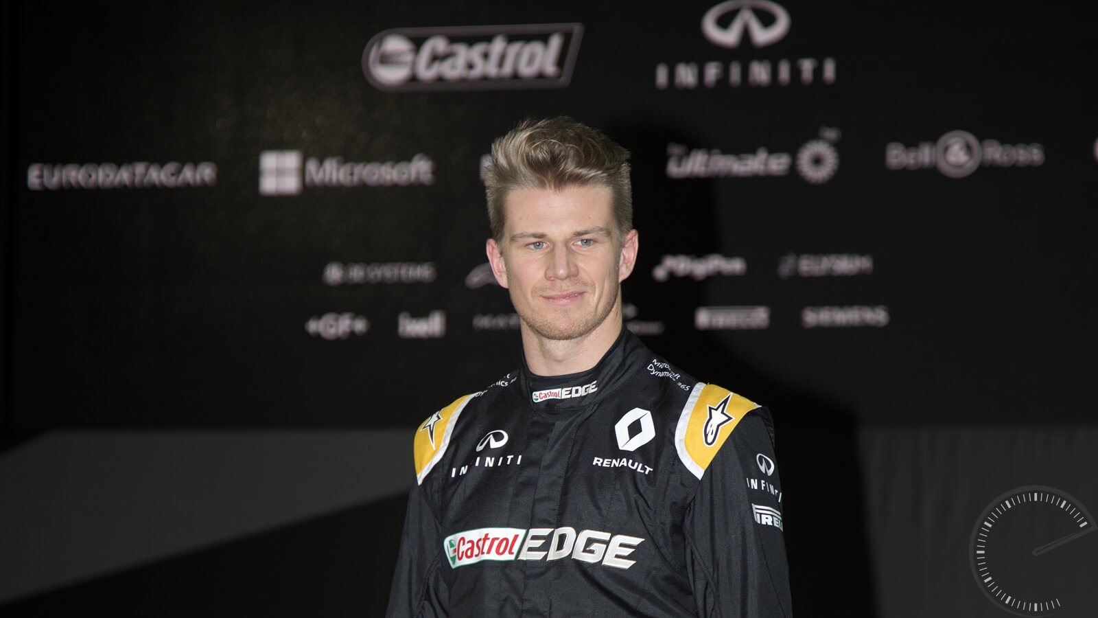 Image of Nico Hulkenberg at launch of Renault F1 RS17