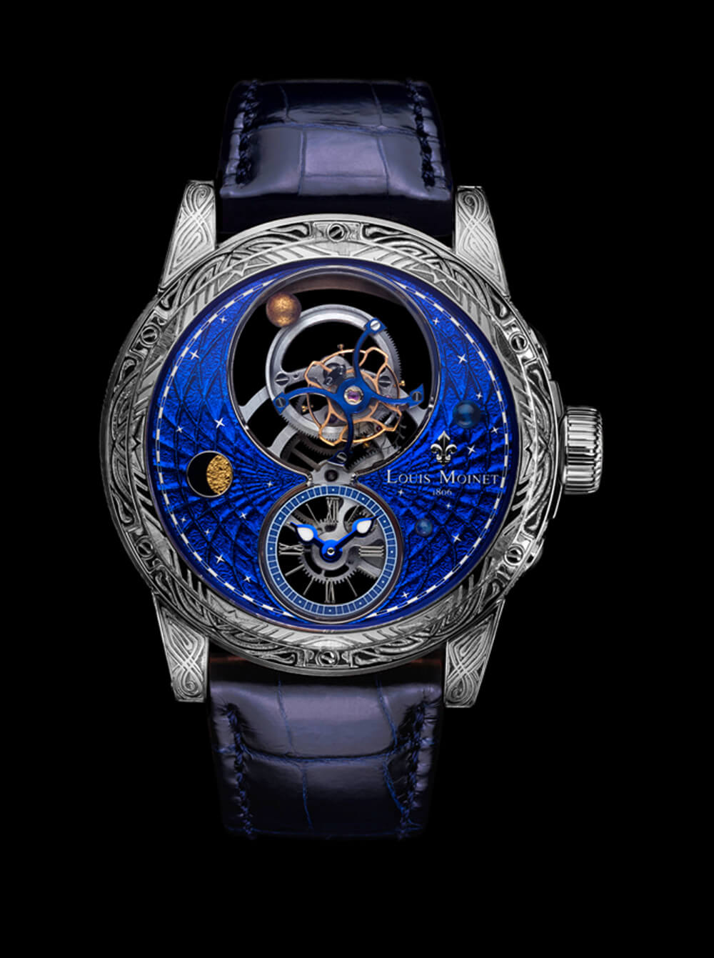 Louis Moinet tourbillon timepiece with magic blue dial