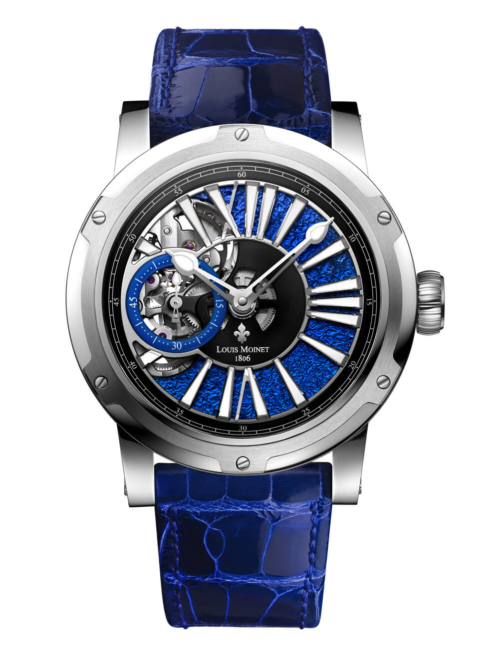 Louis Moinet Metropolis Magic Blue timepiece with distinctive bezel and unusual dial