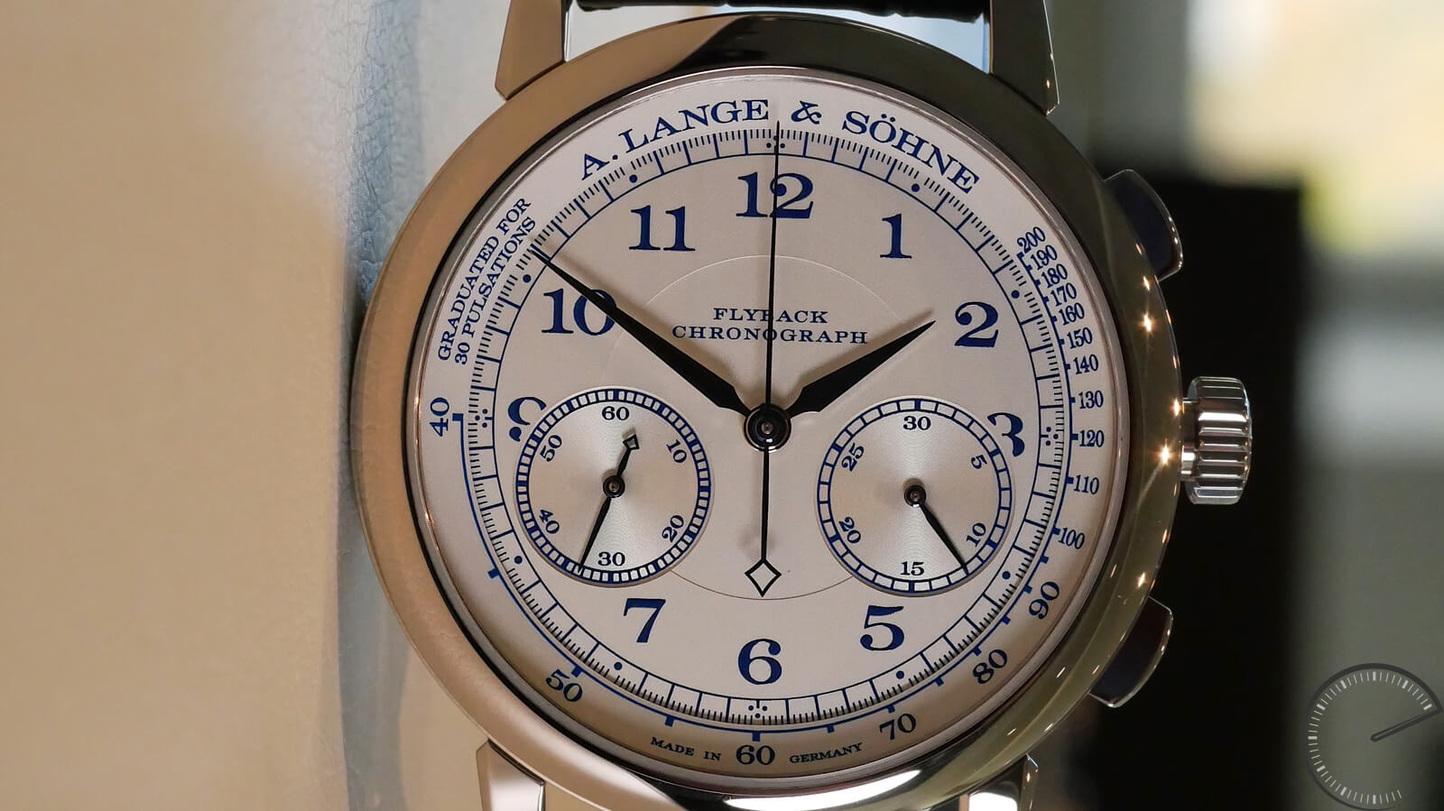 A. Lange & Sohne 1815 Chronograph Boutique Edition - timepiece in white gold with flyback and pulsometer scale