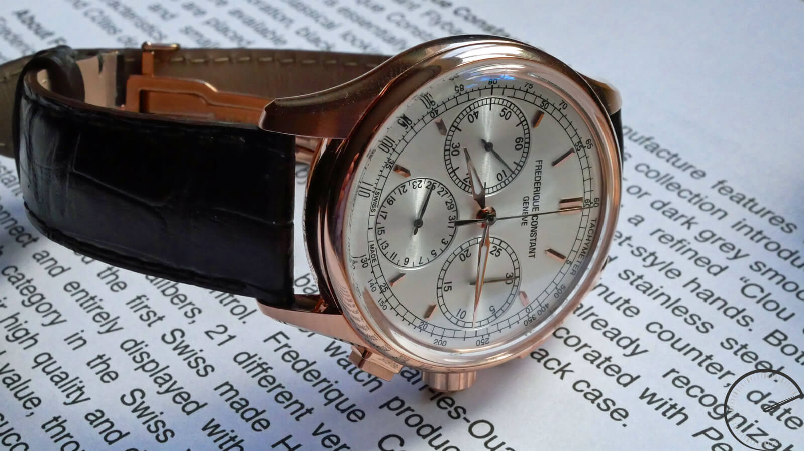 Frederique Constant Flyback Chronograph Manufacture - timepiece with flyback function, gold-plated case and tri-compax layout