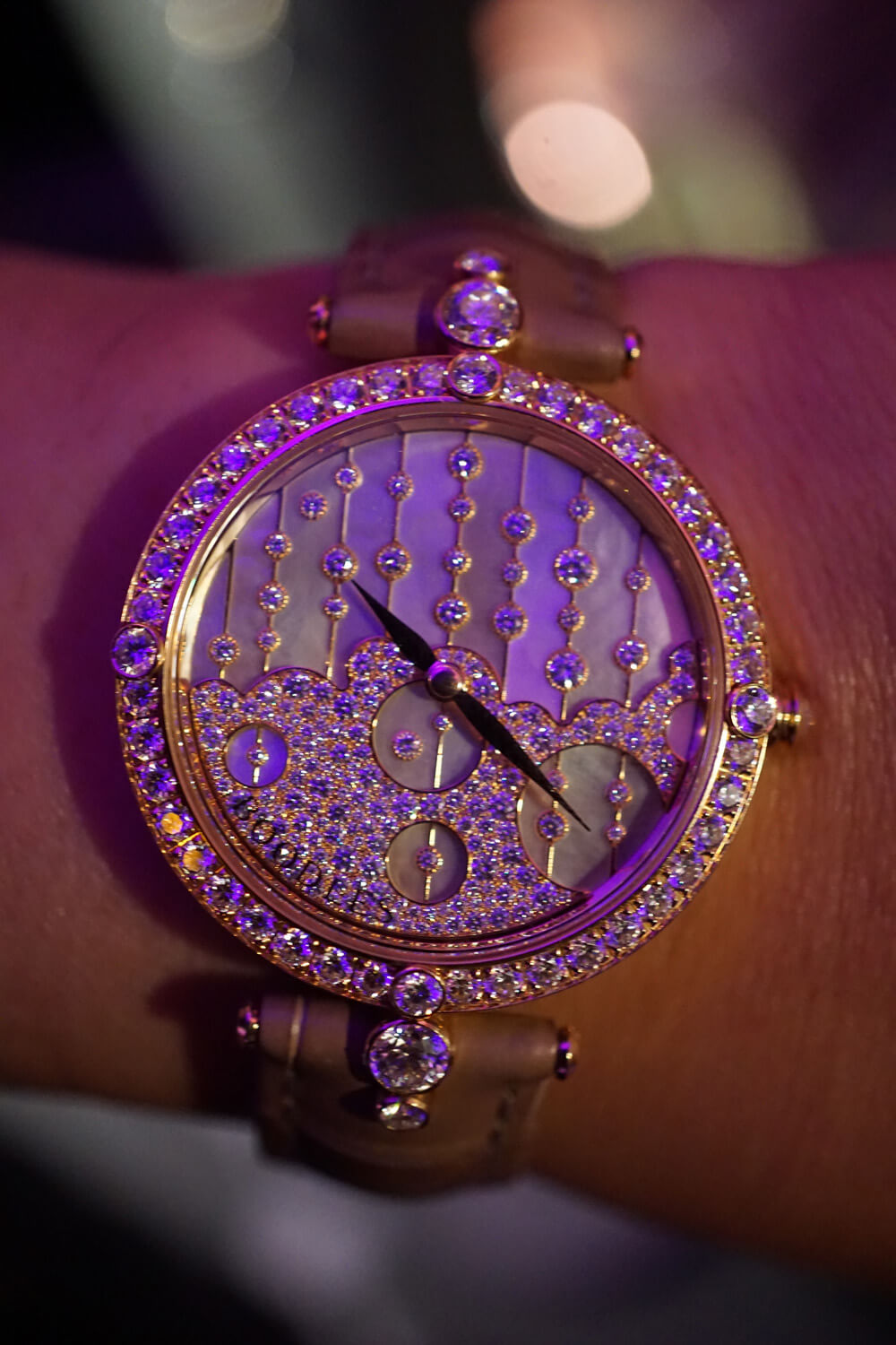 Boodles Raindance Watch featuring a quartz movement and gem set dial and case