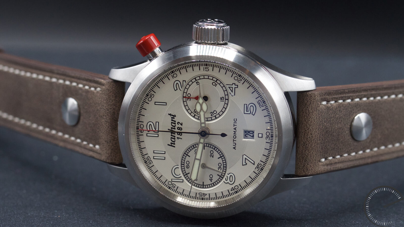Hanhart Pioneer MonoControl silver dial - bicompax chronograph with monopusher