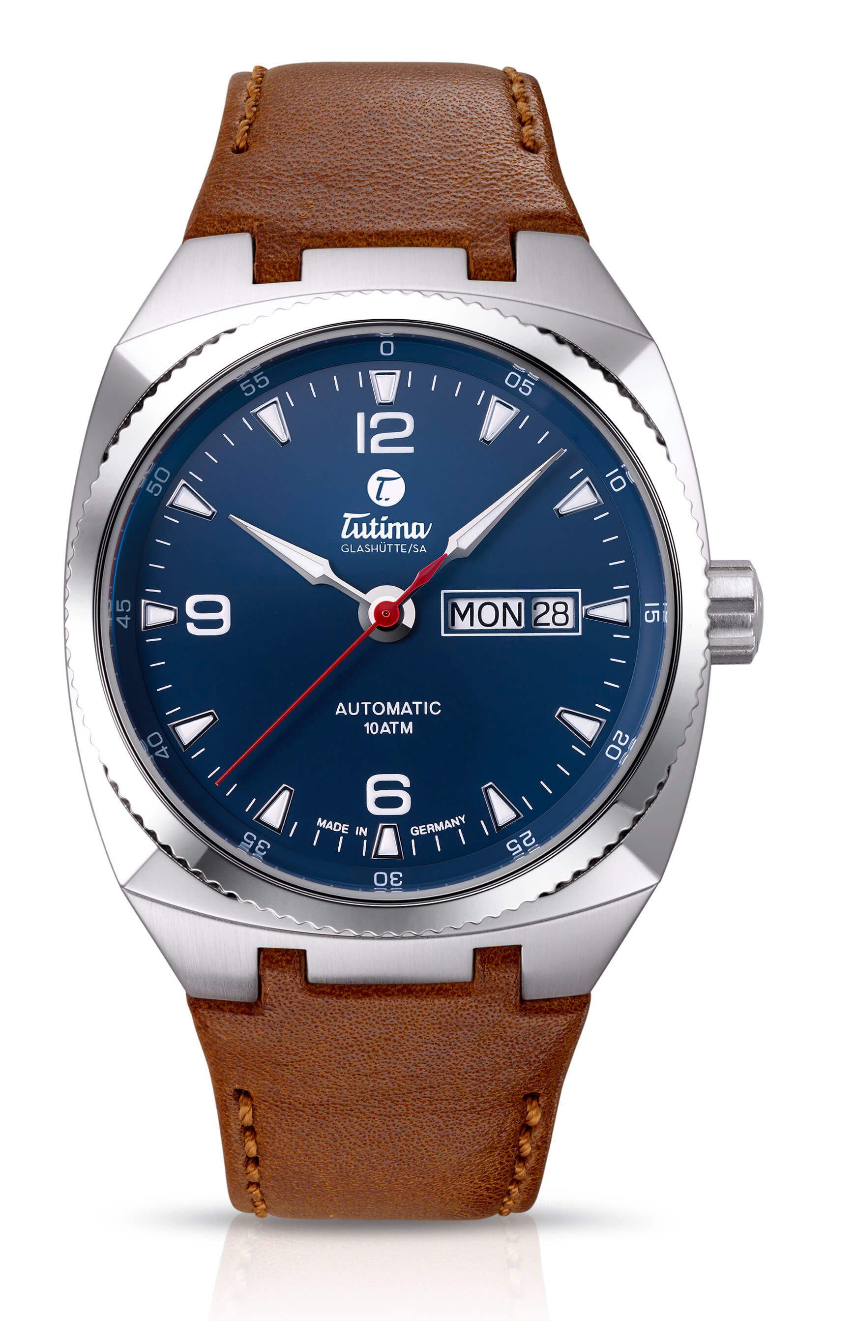 Tutima Saxon One M Automatic Steel Blue 6121-03 - 40mm timepiece with day-date display