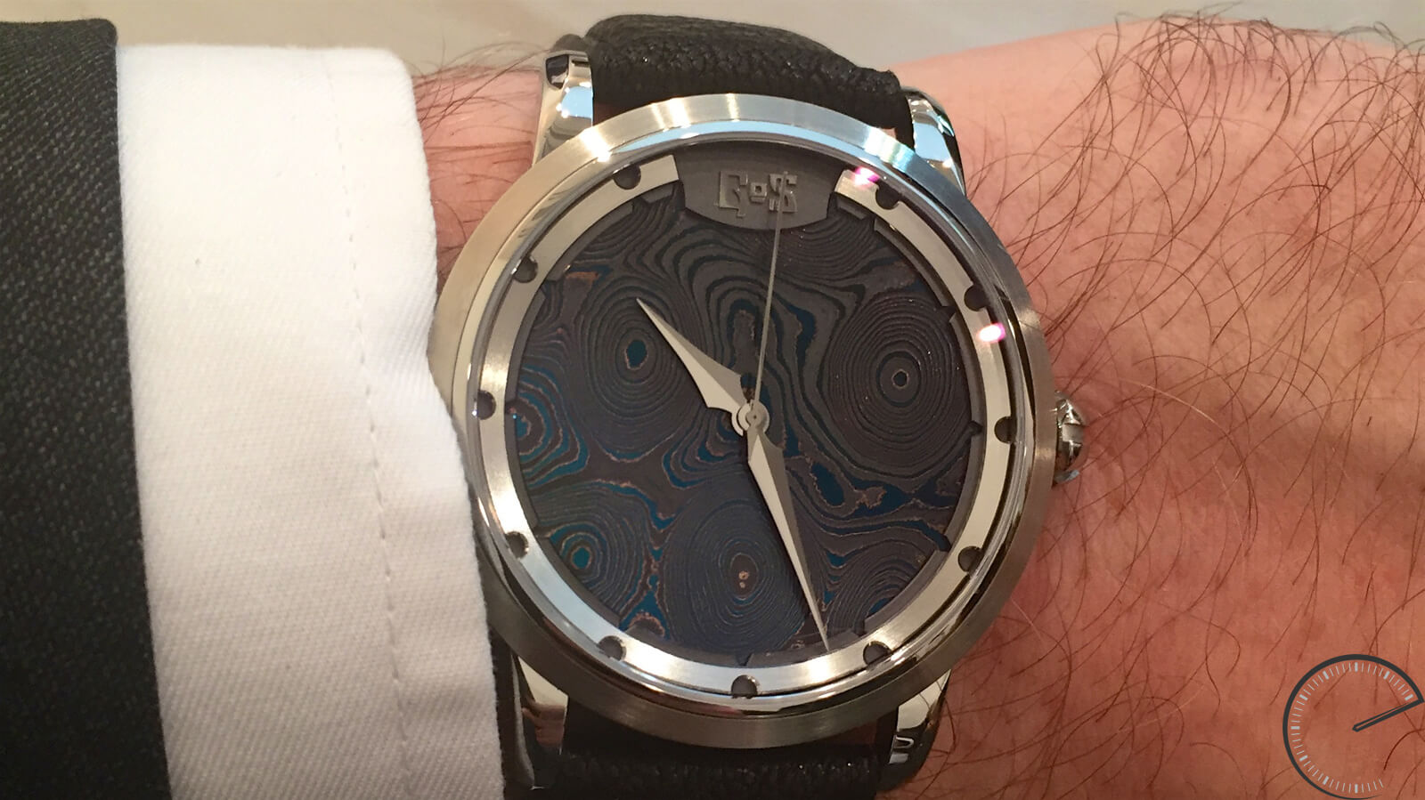 GoS Sarek Midnight Blue - a watch featuring a dial made of Damascus steel
