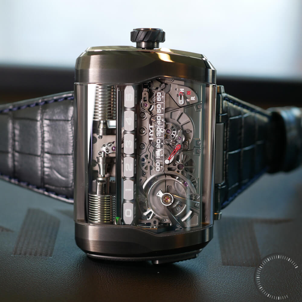 HYT H3 - watch with retrograde hours, retrograde minutes and function selector