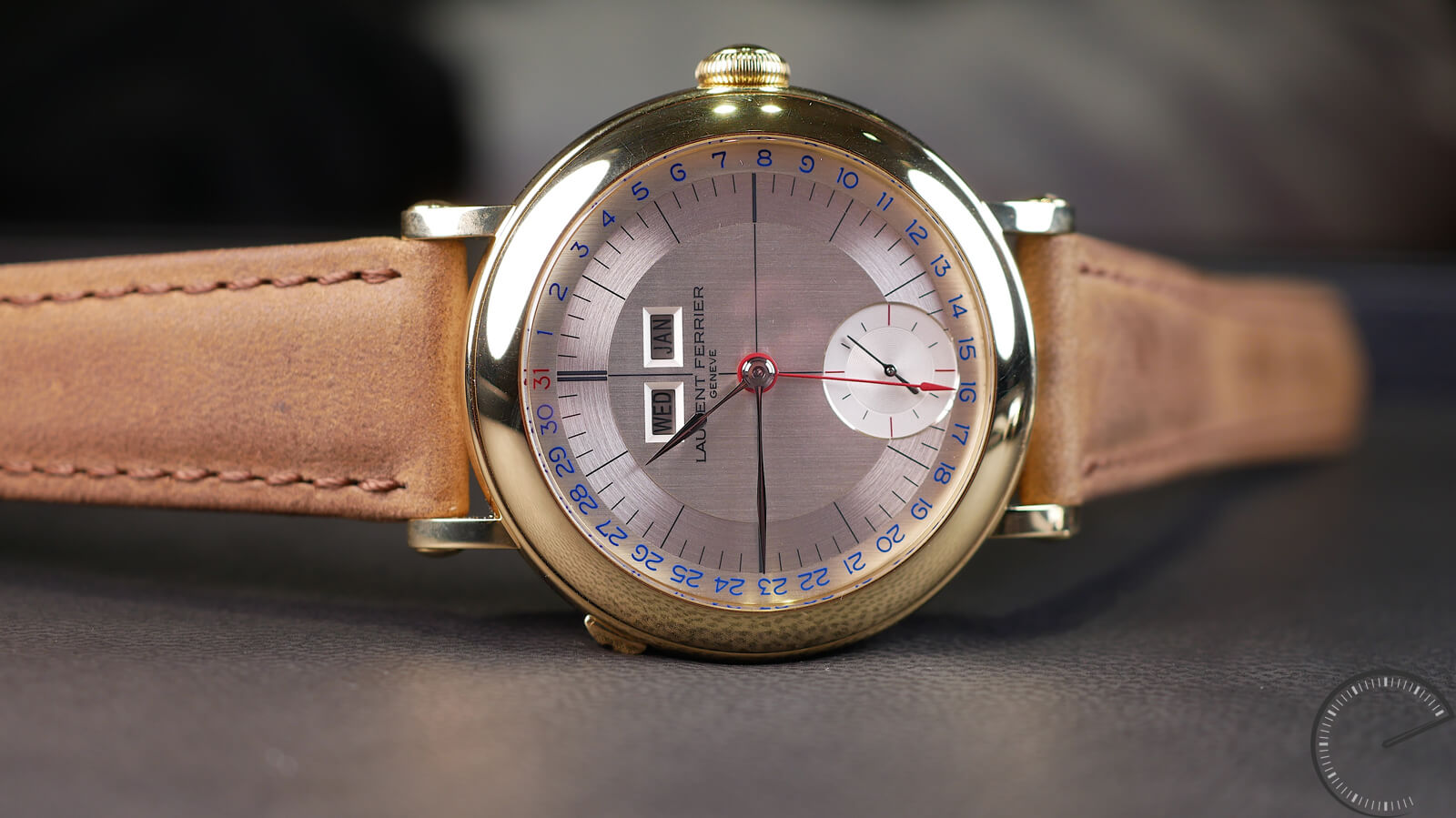 Laurent Ferrier Galet Annual Calendar School Piece featuring the brands fifth exclusive calibre, the LF126.01