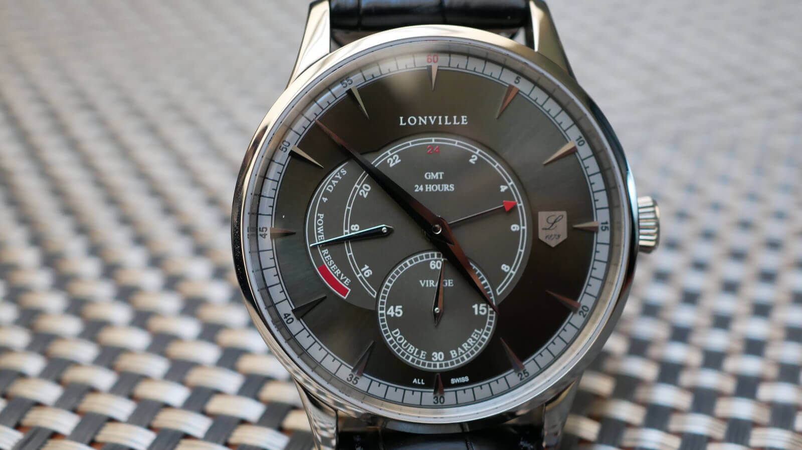 Lonville Gunmetal GMT - gold watch with small seconds, GMT display and power reserve indicator