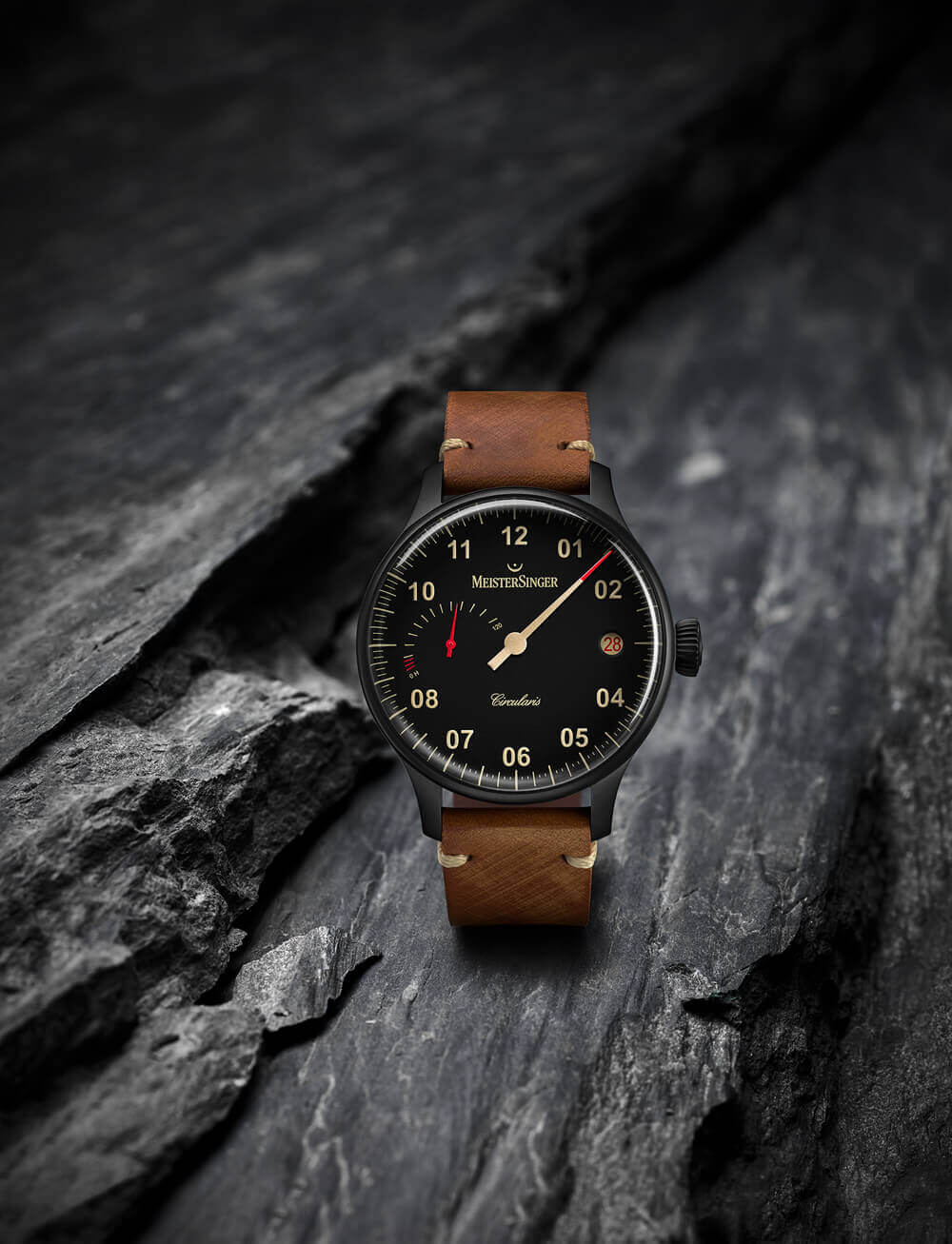 MeisterSinger Circularis Power Reserve Black Line - hand wound watch with power-reserve indicator