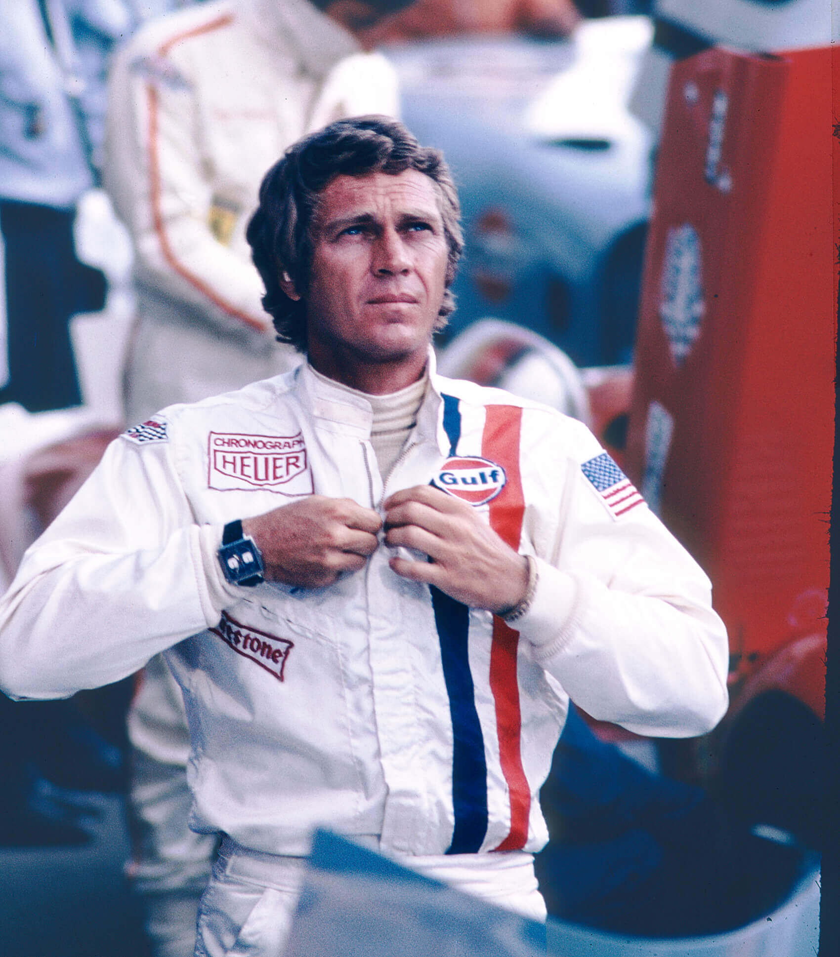 Steve McQueen wearing the Heuer Monaco ref 1133B (1971)